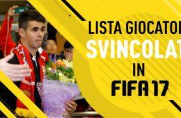 Fifa 17 Lista giocatori svincolati
