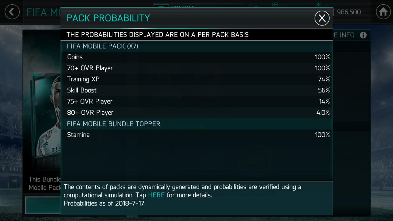 Probabilità Pacchetti FIFA