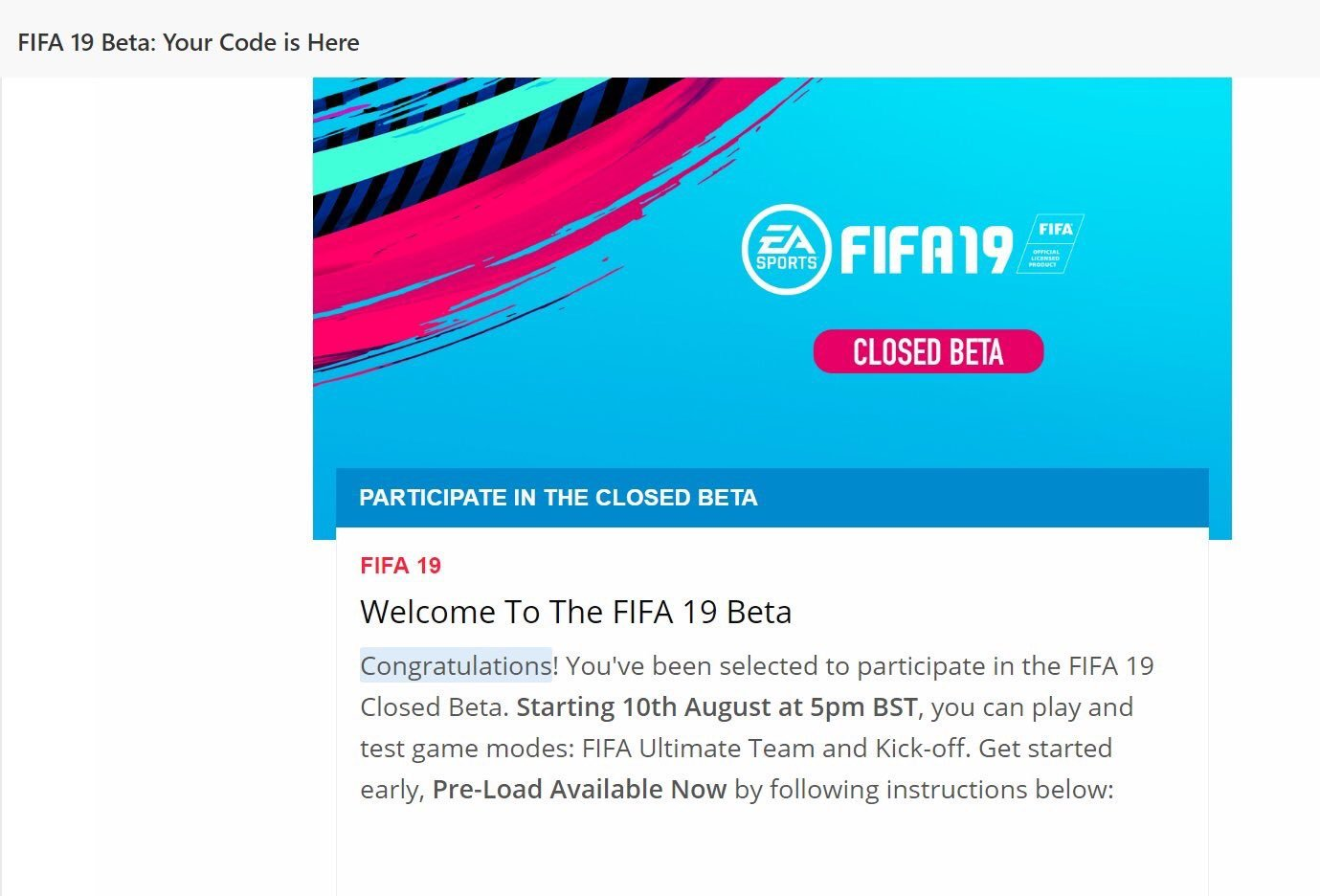 Fifa 19 - Closed Beta