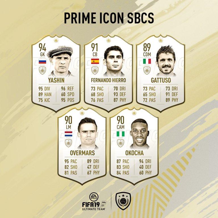 Fifa 19 SBC Icone Prime Gruppo 1: Yashin, Hierro, Gattuso Ov