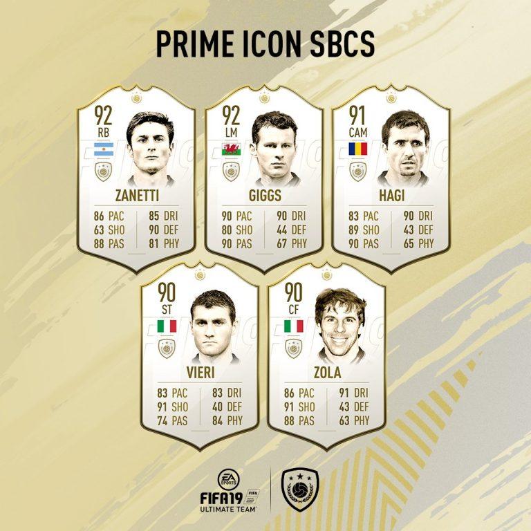 Fifa 19 SBC Icone Prime Gruppo 3: Zanetti, Giggs, Hagi, Vier