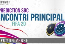 Prediction SBC Incontri Principali FIFA 20