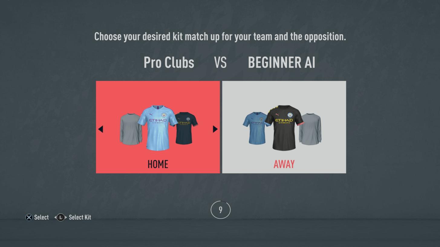 Pro Club FIFA 20 scelta divise