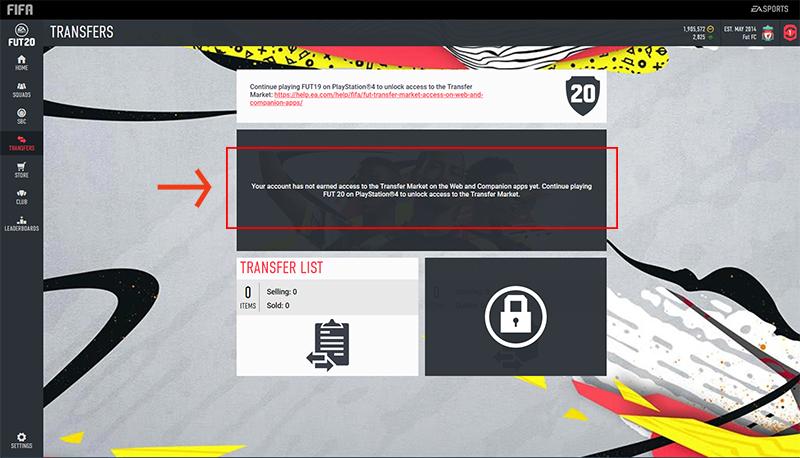 Web App FIFA 20 sbloccare