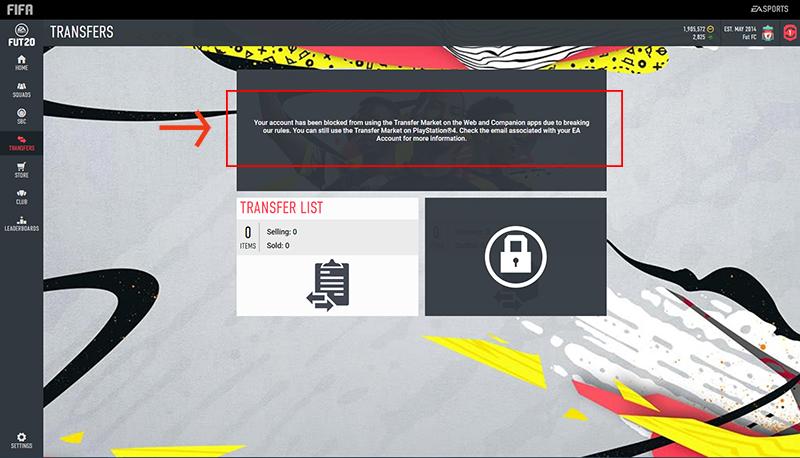 Web App FIFA 20 bloccata