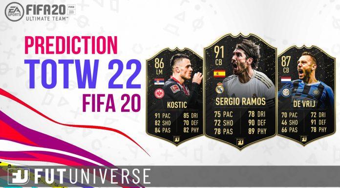 TOTW 22 Prediction FIFA 20