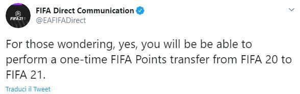 Trasferire FIFA Points su FIFA 21